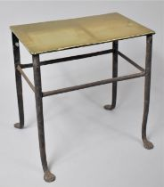 A 19th Century Brass Topped Steel Framed Kettle Stand, 28cmsx17.5cmsx30cms High