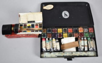A Vintage Reeves Students Colour Box No 65 Together with a Reeves Artists Watercolour Box No 3