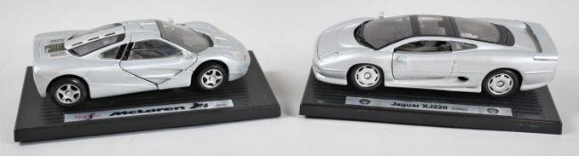Two Diecast Sports Car Models, Jaguar XJ220 and McLaren