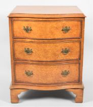 A Late 20th Century Serpentine Fronted Three Drawer Small Chest on Bracket Feet, 53cms Wide and