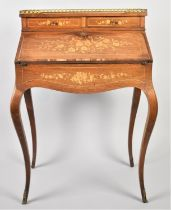 A Reproduction Ormolu Mounted French Style Inlaid Walnut Ladies Writing Bureau on Extended