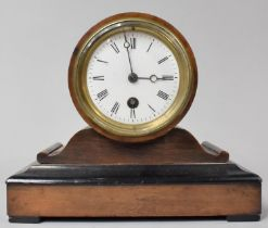 A Walnut Cased Edwardian Mantle Clock with Drum Movement Complete with Pendulum but no Key, 21cm