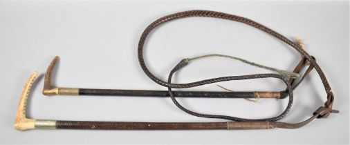 A Ladies and a Childs Riding Crop, Ladies Inscribed RLAS Salford 1933 Presented by Col. H M