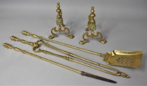 A Set of Long Handled Brass Fire Irons and Pair of Fire Dogs, Poker 70cm Long