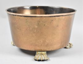 A Brass Circular Planter on Three Claw Feet, 21cm diameter