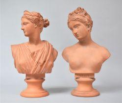 Two Danish Terracotta Busts Stamped P Ipsen Kjobenhavn, Eneret, Venus and Diana, 34cm high. Diana