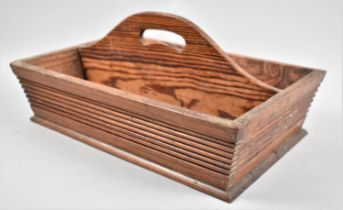 A Late 19th Century Pitch Pine, Two Division Cutlery box, 34cms Wide