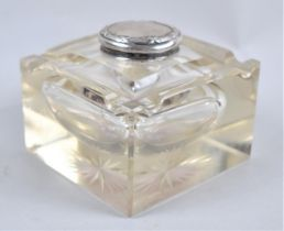 A Silver Topped Glass Inkwell and Pen Rest by J and D Ltd, Birmingham 1906, 10cms Square