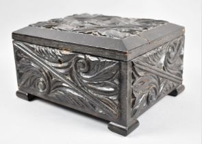 An Edwardian Carved and Ebonized Workbox with Inner Removable Tray, The Hinged Lid Monogrammed