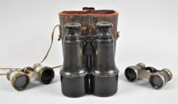 Two Pairs of Opera Glasses and a Pair of Vintage Leather Cased French Binoculars