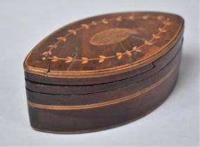 A Late 19th Century Oval Inlaid Box with Swivel Lid, 9cms Wide