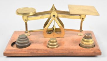 A Set of Brass Postage Scales on Wooden Rectangular Plinth, Complete with Unrelated Weights, 20cms