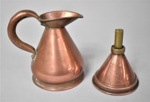 A Small 19th Century Half Pint Copper Measure together with a Brass and Copper Wine Funnel.