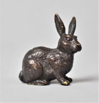 A Small Bronze Study of a Seated Rabbit, 4cms High