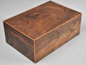 A Modern Burr Wood Workbox with Key, 28cms Wide