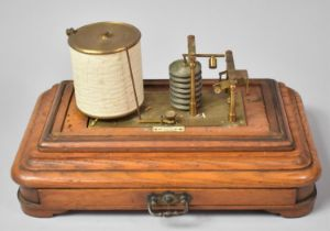 An Edwardian Barograph by J Hicks, The Oak Plinth Base with Long Chart Drawer, Missing Glazed Cover,
