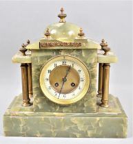 A Late 19th/Early 20th century French Green Onyx Mantel Clock of Architectural Form with Gilt