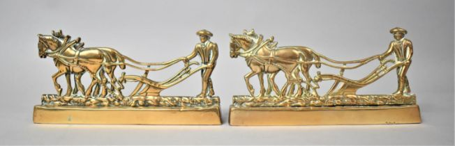 A Pair of 19th Century Weighted Brass Fireside Ornaments in the Form of Heavy Horses Ploughing,