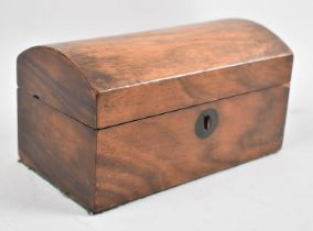 A 19th Century Rosewood Dome Topped Two Division Tea Caddy, Missing One Inner Lid, 19.5cms Wide