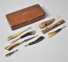 A Kropp Razor Box Containing Horn Whistle, Horn Handled Manicure Tools Etc