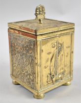 A Mid 20th Century Brass Tea Caddy, The Exterior with Islamic and Sailing Barge Decoration, 18cms