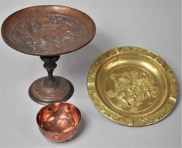 A Late 891th Century Copper Circular Tazza Decorated in relief with Classical City Scene, 18cms