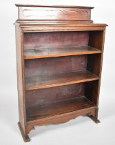 An Edwardian Mahogany Galleried Three Shelf Open Bookcase, 76cms Wide