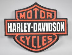 A Reproduction Cast Metal Harley Davidson Motorcycle Plaque, 33cm Wide