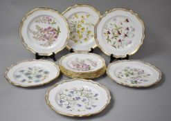 A Set of Spode Wildflower Series Plates to comprise Six large and Six Smaller Examples, 27 and 24cms