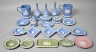 A Collection of Various Wedgwood Jasperware to include Blue and White Examples, Vases Mugs, Lidded