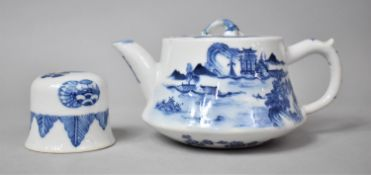 A Chinese Blue and White Teapot Having Exterior Village Scene, Temple Lion Finial, Double