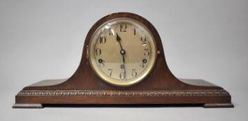An Edwardian Oak Napoleon Hat Westminster Chime Mantle Clock, 52cm Wide