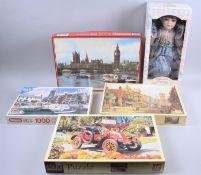 Four Jigsaw Puzzles and a Leonardo Porcelain Head Doll