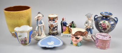 A Small Collection of Ceramics to Include Lustre Preserve Pot, Figural Ornaments, Poole Vase,