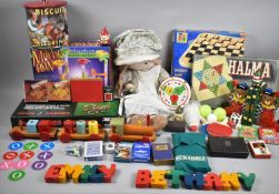 A Collection of Various Mid 20th Century Toys and Games to Include Marble Run, Draughts, Jacques