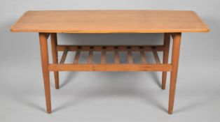 A 1970's Coffee Table with Slatted Under Shelf, 9cm wide