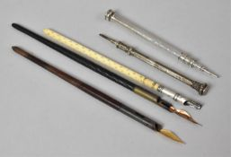 A Collection of Various Vintage Dip Pens and Two Silver Propelling Pencils with jewelled