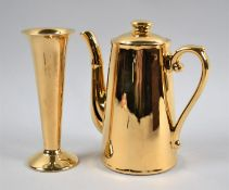 A Royal Worcester Gilt Coffee Pot and a Royal Winton Bud Vase