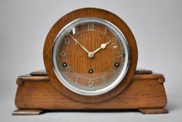 An Art Deco Oak Westminster Chime Mantle Clock on Plinth Base, with Key and Pendulum, 32cm wide