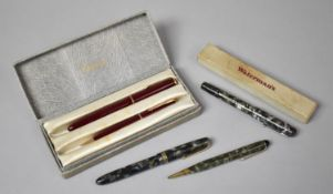A Cased Vintage Parker Pen and Pencil Set the pen with 14 nib, Boxed Waterman Junior Pen with 14k