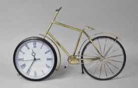 A Modern Novelty Mantle Clock in the Form of a Metal Vintage Bicycle, Battery Movement, 48cm Long