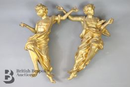 Pair of Contemporary Composite Gold Painted Angels