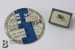 Vintage 1954 Tax Disk for a Hackney Cab