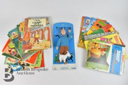 Tintin Figurine, Tintin Cigars of the Pharaoh, and 20 Asterix Books