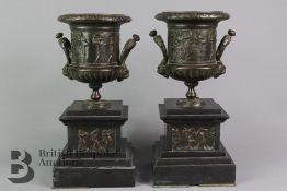 Pair of French/Italian Bronze Urns