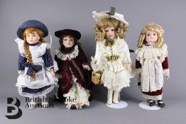 Four 20th Century Porcelain Dolls