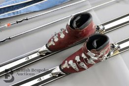 Vintage Humanic Ski Boots and Fischer Superglass Skis and Poles