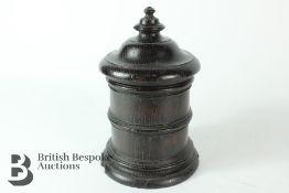 Early Victorian Ebonised Oak Tobacco Jar