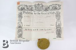 Victorian Knight Bachelor Certificate and Seal