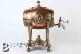 A George III Copper Barrel Tea Urn
